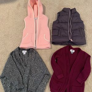 Bundle. Two 3t girls vest and two 3t open sweaters